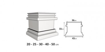 Chapiteau ou Socle de colonne rectangle en EPS