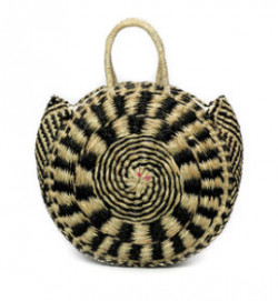 The Seagrass Pied Roundi Bag - Natural Black - M