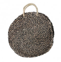 The Seagrass Spotted Roundi Bag - Natural Black - L