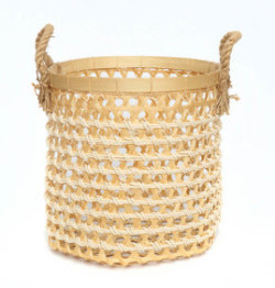 The Bamboo Macrame Baskets - Natural White - Medium