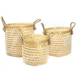 The Bamboo Macrame Baskets - Natural White - Set 3
