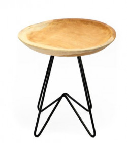 The Rain Tree Side Table - Natural Black