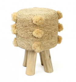 The Raffia Pom Pom Stool