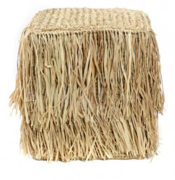 The Raffia Shaggy Stool - Square
