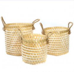 Panier The Bamboo Macrame - Blanc Naturel - SET3