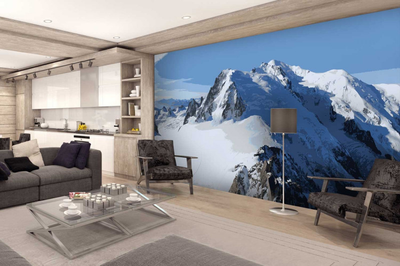 papier peint personnalis photo montagne panoramique poster mural 6l s. Black Bedroom Furniture Sets. Home Design Ideas