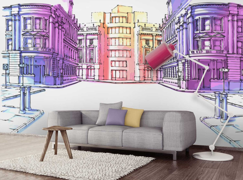 papier peint personnalis photo dessin de rue panoramique poster mural. Black Bedroom Furniture Sets. Home Design Ideas