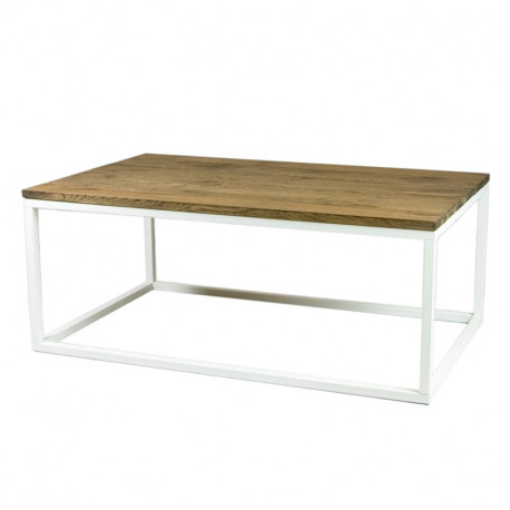 table basse avec plateau en ch ne et acier blanc doncarli d coration. Black Bedroom Furniture Sets. Home Design Ideas