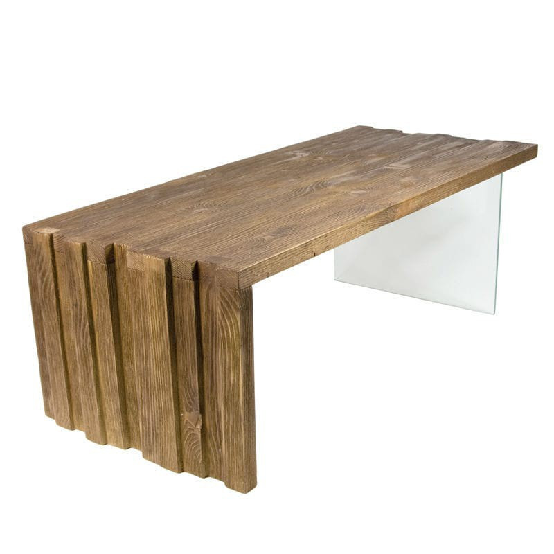 table basse en bois avec pied en verre tremp doncarli d coration. Black Bedroom Furniture Sets. Home Design Ideas