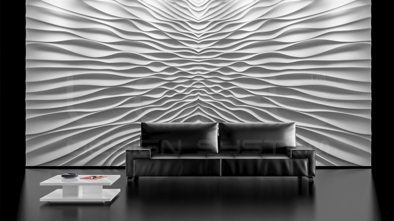 tableau mural en 3d avec decor de vagues grande dimension en pl tre. Black Bedroom Furniture Sets. Home Design Ideas